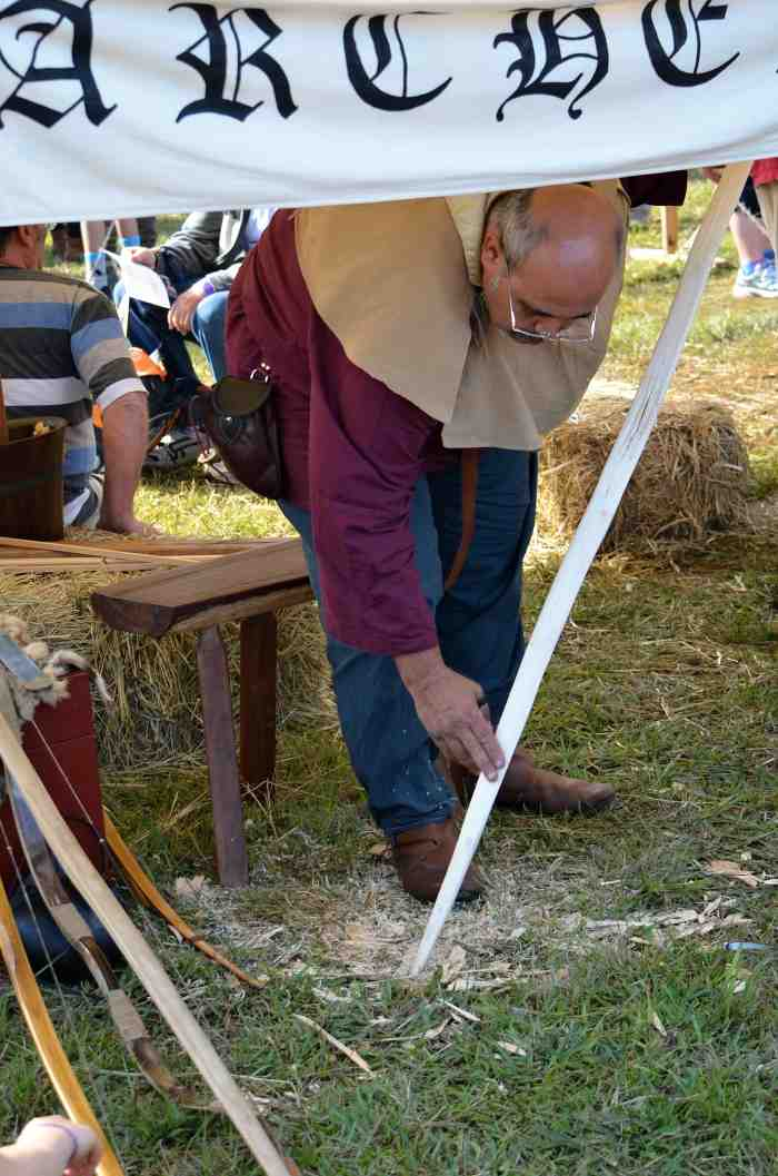 Abbey medieval festival bow and arrow making 2013.jpg