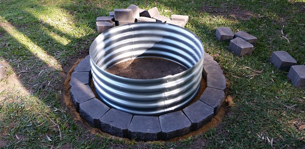 My fire pit build project using retaining wall blocks for How to build a block fire pit