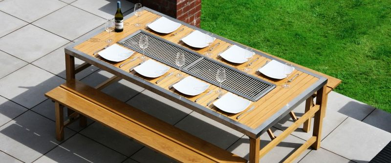 Gas barbecue table all in one self sufficient culture - How to build a korean bbq table ...