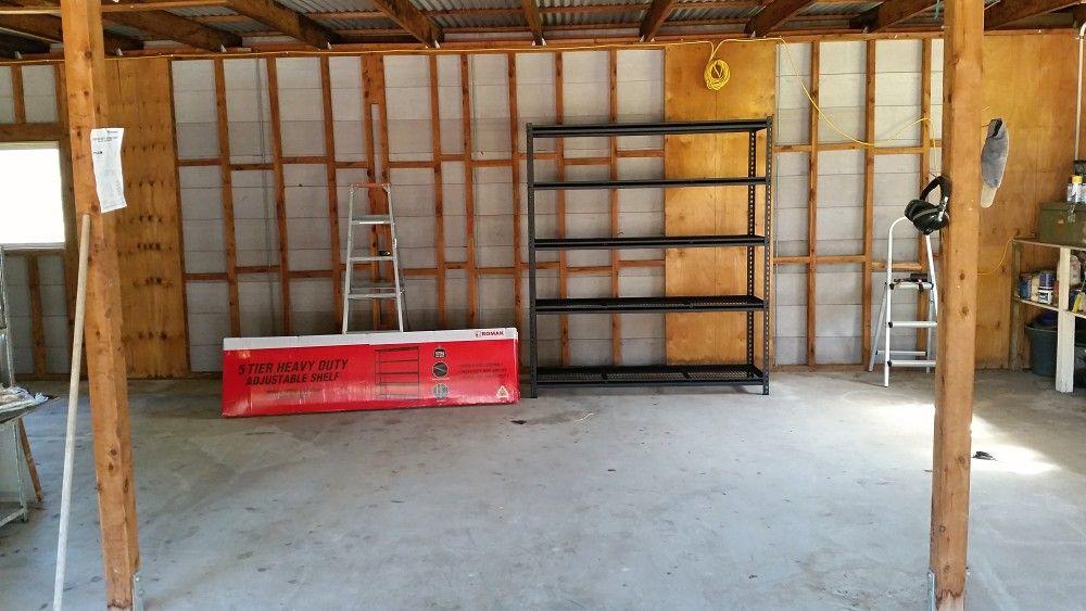 Romak shelving 5 Tier heavy duty Bunnings in my shed.jpg